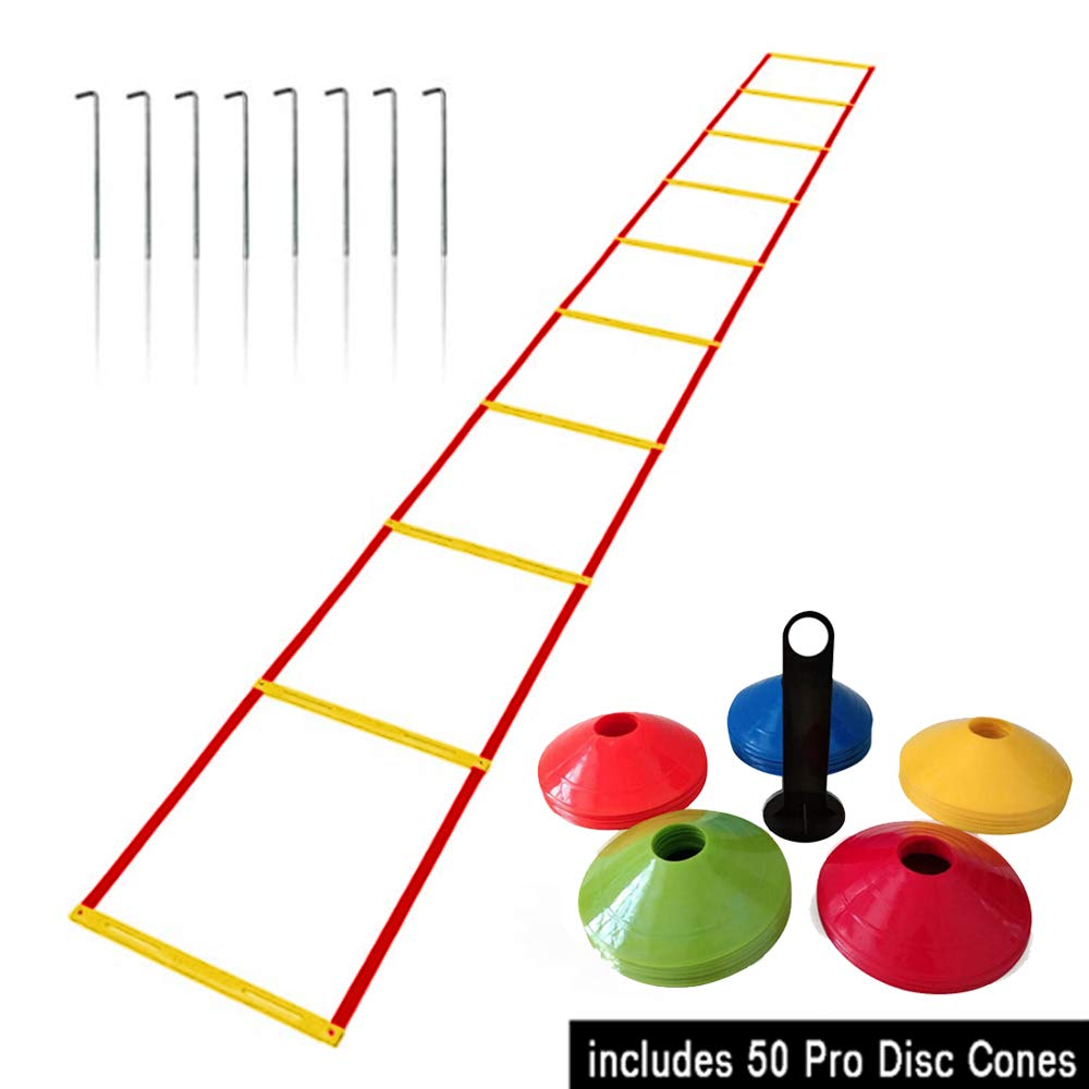 Agility Ladder and Cones - 50 Field Cones - 12 Rung Speed Ladder