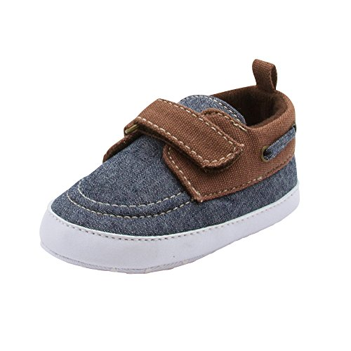 Barehugs Baby Boys Soft Infant Boat Shoe Style Loafer Blue Denim 3-6 Months (Infant Soft Bottom Shoes Boys)