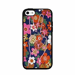 Peace Sign on Floral Background Plastic Phone Case Back Cover iPhone 5c