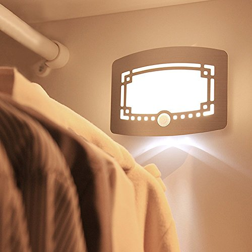 12 LED Stick-on Anywhere Aluminum USB Rechargeable Motion Sensor Activated LED Wall Sconce Night Light for Stairs Hallway Corridor Kitchen Bathroom Porch Closet (Natural - Twin Arm Sconce