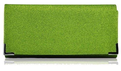 Bolso de mano para mujer, diseño de cristal, de fiesta, de noche Green Glitter Clutch Bag