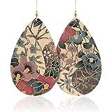 Floral Leather Teardrop Earrings, Genuine Leather Earrings
