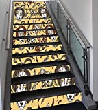 Stair Stickers Wall Stickers,13 PCS Self-adhesive,Masquerade,Venetian Style Paper Mache Face Mask With Feathers Dance Event Theme,Mustard Brown White,Stair Riser Decal for Living Room, Hall, Kids Room