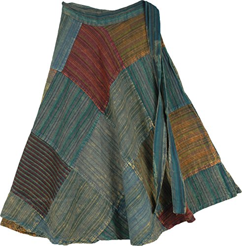 TLB - Jungle Green Short Summer Patchwork Skirt - L:25