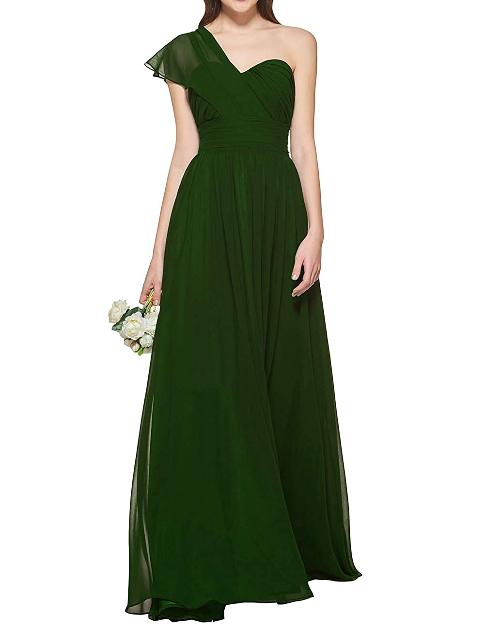 Dark Green Uther Women's One Shoulder Bridesmaid Dress Long Prom Evening Gown A Line