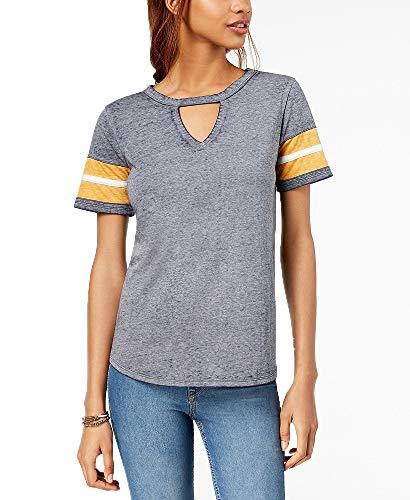 Hippie Rose Juniors' Cutout Varsity T-Shirt (Heathered Navy, S) ()