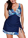 Aleumdr Womens Padded Tankini Set Swimsuits With Pantskirt