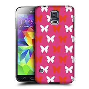 Case Fun Samsung Galaxy S5 (i9600) Case - Ultra Slim Version - Full Wrap Edge to Edge Print - Pink Butterflies