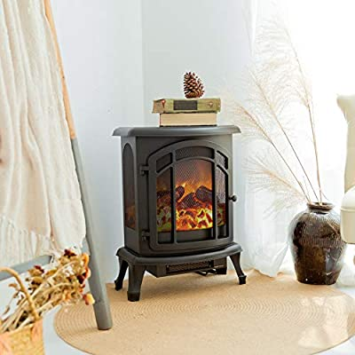 FLAME&SHADE 25 inch Electric Fireplace Stove w/Heater 1500w Free Standing Portable Cast Iron-Style Remote Control Included - Black