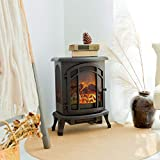 FLAME&SHADE Electric Fireplace Wood Stove - Realistic LED Log Flame Effect - Free Standing - Compact Small Space Heater - Remote Control - 1500/750w Heat - Black