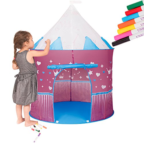 Princess Kids Play Tent Fairy Castle - Imaginative Play and Creativity With 8 Erasable Fabric Markers By Unicorn. For Indoor and Outdoor Play. Popup and Fully Foldable With Storage Bag