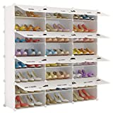 KOUSI Portable Shoe Rack Shoes Cabinet Organizer 48 Pair Tower Shelf Storage Cabinet Stand Expandable for Heels, Boots, Slippers, 8 Tier White
