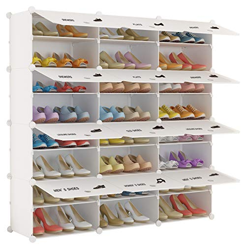 White Shoe Organizer - KOUSI Portable Shoe Rack Organizer 48 Pair Tower Shelf Storage Cabinet Stand Expandable for Heels, Boots, Slippers, 8 Tier White