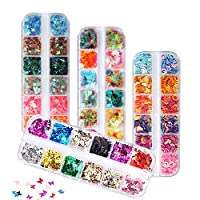 FITDON 48 Boxes Holographic Nail Sequins, Shell Round Star Leaf Butterfly Iridescent Flake Nail Glitter