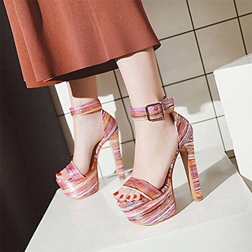 Party Size 5 Ankle Sandals 8 Shoes Platform 3 6 4 Strap Peep Strappy Stiletto ZPL Womens 7 Heel Toe Ladies Red High wp6qqO