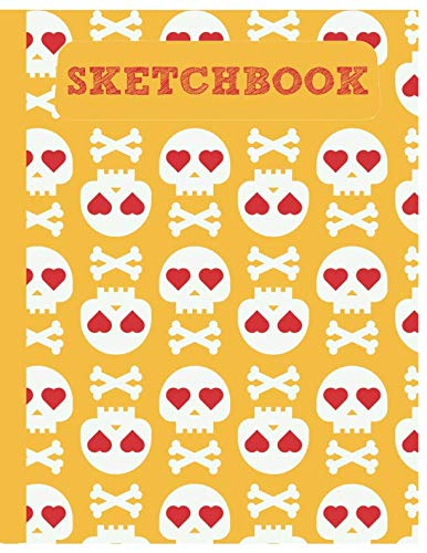 Sketchbook: Cute Skull Sketchbook for Adults/Children to Sketching, Whiting, Drawing, Journaling and Doodling, Large (8.5x11 Inch. 21.59x27.94 cm.) 120 Blank Pages (YELLOW&WHITE&RED Pattern) ()