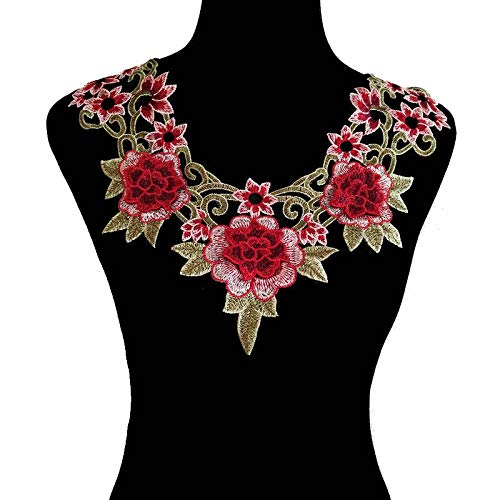 3D Flower Floral Guipure Collar Neckline Lace Trim Embroidered Neck Applique Sewing Craft Classic Embroidery Collar Fake Collar (Color M)