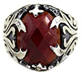 Men's sterling silver ring garnet stone, Express Shipping