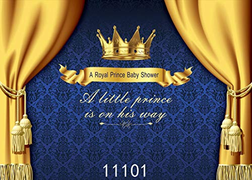 Wolada 7x5 Baby Prince Royal Photo Backdrop Golden Crown Baby Photography backdrops Decor Party Birthday Baby Shower Thin Vinyl Photography Background Photo Studio Props 11101