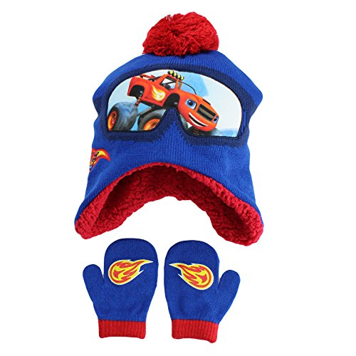 BLAZE Boys Winter Hat and Mittens Nickelodeon Monster Truck Blue Toddler 2T-4T (Monster Truck Winter Hat)