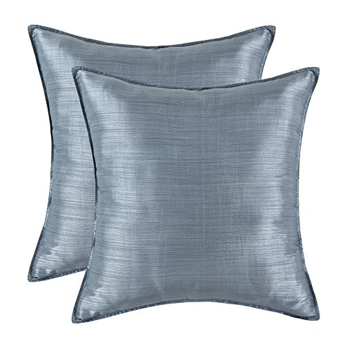 CaliTime Pack of 2 Silky Throw Pillow Covers Cases for Couch Sofa Bed Modern Light Weight Dyed Striped 26 X 26 inches Gray
