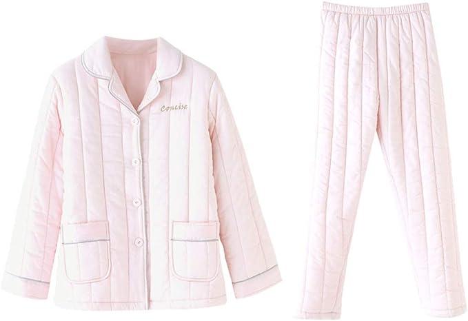 Pijama Pijamas De Invierno De Mujer De Algodón Gruesos Pantalones De Manga Larga Cálidos Pijamas Cálidos Conjunto De Letras De Color Sólido Pijamas Impresos Pijama de Mujer: Amazon.es: Ropa y accesorios