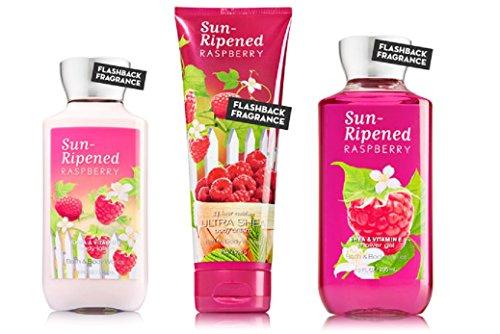 Bath & Body Works Sun Ripened Raspberry Body Cream, Shower Gel and Body Lotion Gift Set