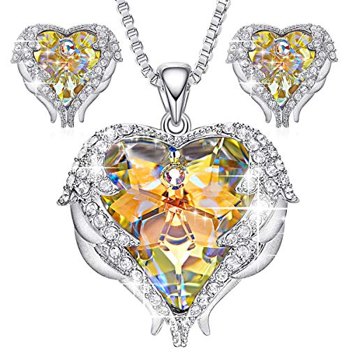 - Monkeyas Angel Wing Swarovski Jewelry Set Women Jewelry 18K White Gold Plated Crystals Heart Pendant Necklace Earrings Sets Gift for Any Festival