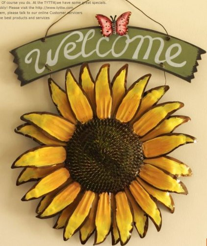 12x15 Vintage Hanging Butterfly Sunflower Welcome Sign Sunflower Decor For  Door Hanging Home Decor Part 17