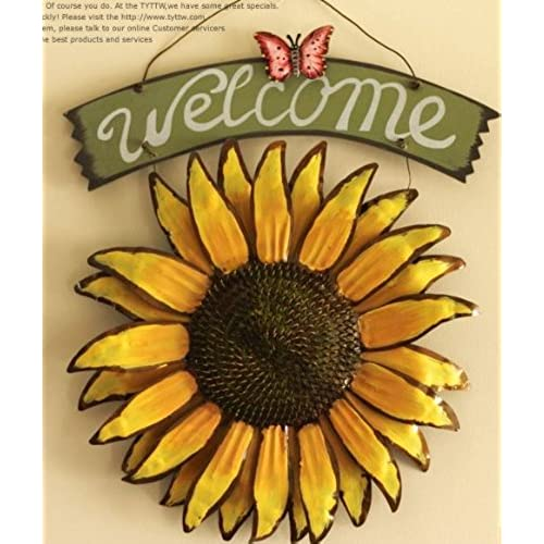 Superieur Bonlting 12x15 Vintage Hanging Butterfly Sunflower Welcome Sign Sunflower  Decor For Door Hanging Home Decor