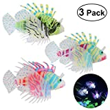 UEETEK Aquarium Fish Tank Decorations, Silicone Lionfish Fake Fish Floating Decorations Ornament Glow-Pack of 3