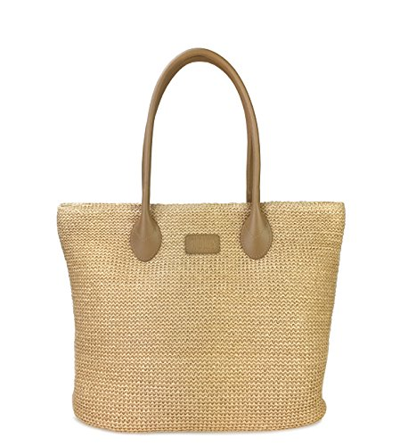 Hoxis Weekender Lightweight Synthetic Straw Shopper Tote Womens Shoulder Handbag (Brown) ()