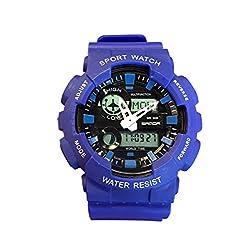 Elegant Blue Digital Sports Watch Climbing Fashion Outdoor Rubber Band Electronic Wristwatch Alarm Clock