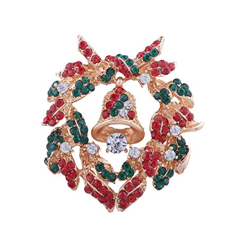 XMYL Christmas Diamond Personality Brooch Fashion Bell Wreath Boutonniere Pin Accessories