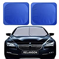 "RELANSON Car Windshield Sunshade,2 Pieces of Separate Foldable 35""x31"" Car Sun Shade Blocks UV Rays Sun Visor Protector and Keep Your Vehicle Cool - Universal Fit"