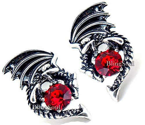- Game Merchandise Jewelry Earrings - Red Crystal Dragon Studs Costume Cosplay Collection