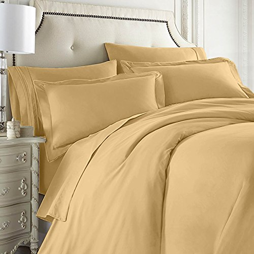 Nestl Bedding 7-Piece Queen Duvet Cover and Bed Sheet Set - Includes Duvet Cover, Flat Sheet, Fitted Sheets, 2 Pillowcases and 2 Pillow Shams - Complete Luxury Soft Microfiber Bedding Set, Camel Gold by Nestl Bedding