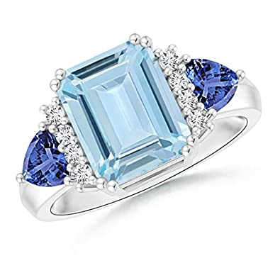 Angara Twist Shank Emerald-Cut Aquamarine Ring in White Gold 0BGbg