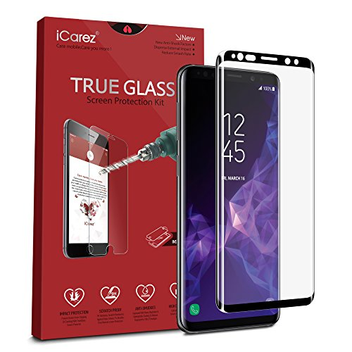 iCarez [Full Coverage Black Glass ] 3D Curved Screen Protector for Samsung Galaxy S9 Easy Install [ 1-Pack 0.33MM 9H ] - Retail - True Glass Curved