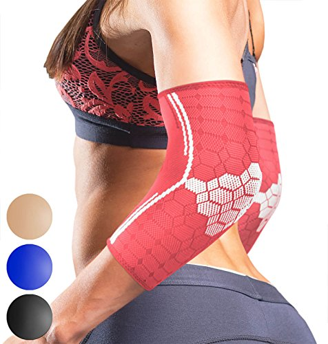 Elbow Compression Sleeves by SPARTHOS (Pair) – Tendonitis Elbow Brace Golfer's Tennis Elbow Support for Men and Women – Arm Injury Recovery & Prevention Biceps Triceps Joint Pain Relief (Elbow Sleeve Tissue)