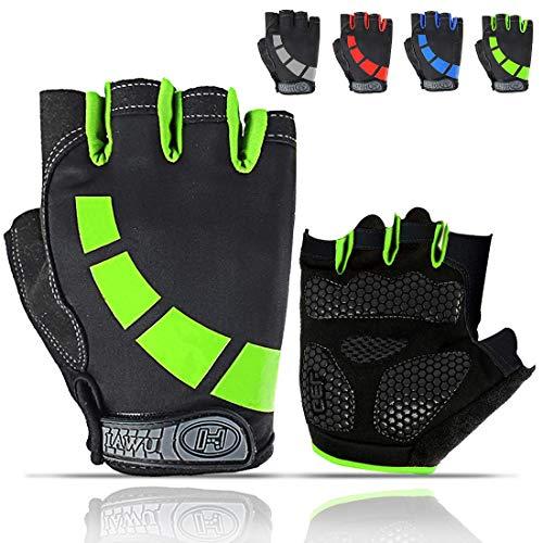 Cycling Gloves for Men/Women/Juniors, Half-Finger Bike Workout Ideal Biking Gym MTB Gloves for Motorcycle/Mountain Bike, 5mm Padded Anti Slip Gloves for Outdoor Road Bicycle, Dirt Bike, Roller Skate ...