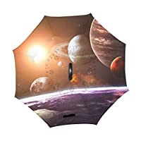 ALAZA U LIFE Galaxy Stars Space Universe Planets Earth Reverse Inverted Umbrellas Reversible Sun Rain Umbrella for Car Outdoor Use With C-shaped Handle