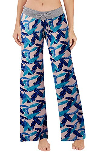 RAISEVERN Women's Casual Pajamas Pants Blue Feather Summer Wide Leg Palazzo Lounge Pants High Waisted Drawstring Comfy Sleepwear Trousers -