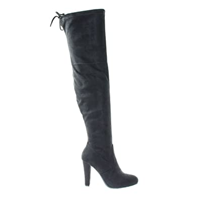 Amazon Women High Block Heel Otk Over The Knee Dress Boots