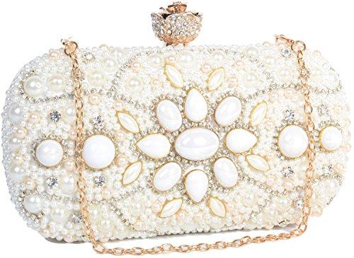 Pulama Luxury Full Rhinestone Bridal Wedding Clutch Womens Evening Handbag Party Prom Purse (White)