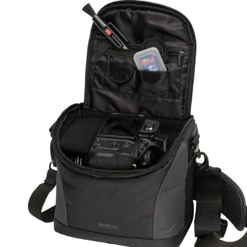 M107229_Black Rivacase Camera/Photo Bag with Purple Inner Lining for DSLR Cameras and Accessories - Lens G2 Powershot