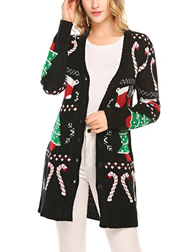Soteer Women's Button-Front Christmas Cardigan Sweater (Cardigan Ugly Sweater Christmas)
