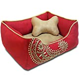 Blueberry Pet Heavy Duty Microsuede Overstuffed Bolster Lounge Dog Bed, Removable & Washable Cover w/YKK Zippers, 25″ x 21″ x 10″, 6 Lbs, Tango Red Embroidered Paisley Beds for Cats & Dogs