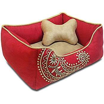"""Blueberry Pet Heavy Duty Microsuede Overstuffed Bolster Lounge Dog Bed, Removable & Washable Cover w/YKK Zippers, 25"""" x 21"""" x 10"""", 6 Lbs, Tango Red Embroidered Paisley Beds for Cats & Dogs"""
