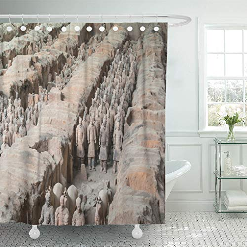 Semtomn Shower Curtain Xian Shaanxi Province China Aug The Terracotta Army at Shower Curtains Sets with 12 Hooks 72 x 78 Inches Waterproof Polyester Fabric